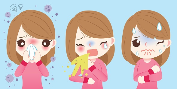 cartoon of girl with allergies flu and cold ThinkstockPhotos-648627578.jpg