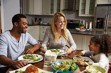 family eating together around dinner table