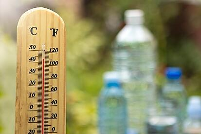 thermometer and water bottles