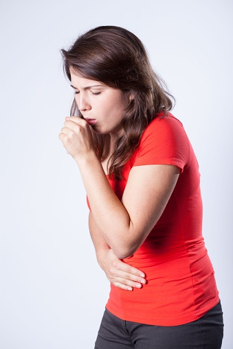women coughing