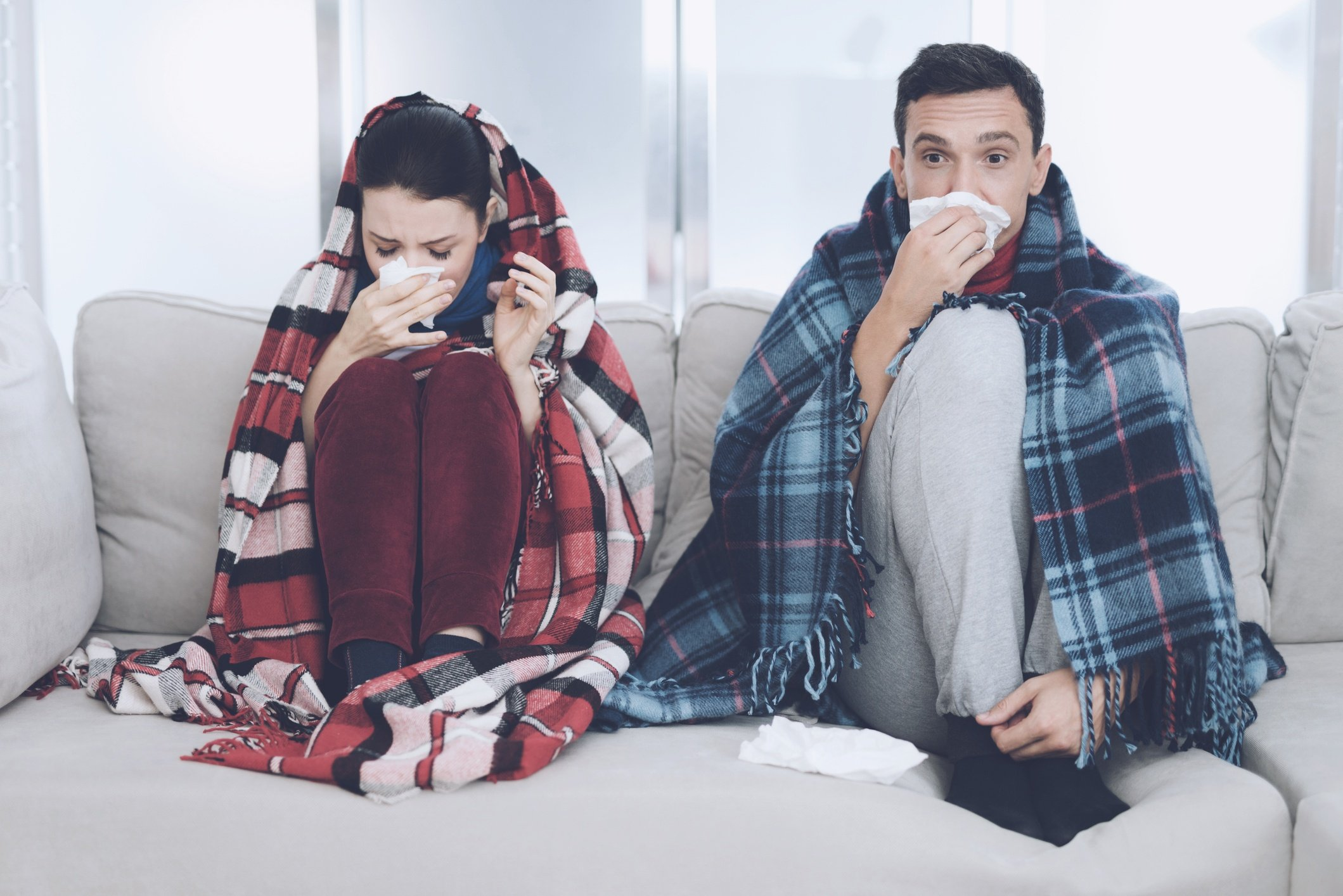 couple recovering from the flu