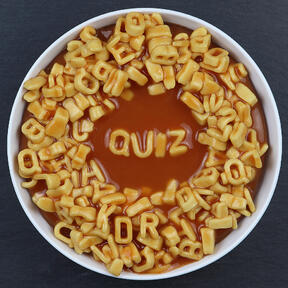quiz spelled in pasta letters